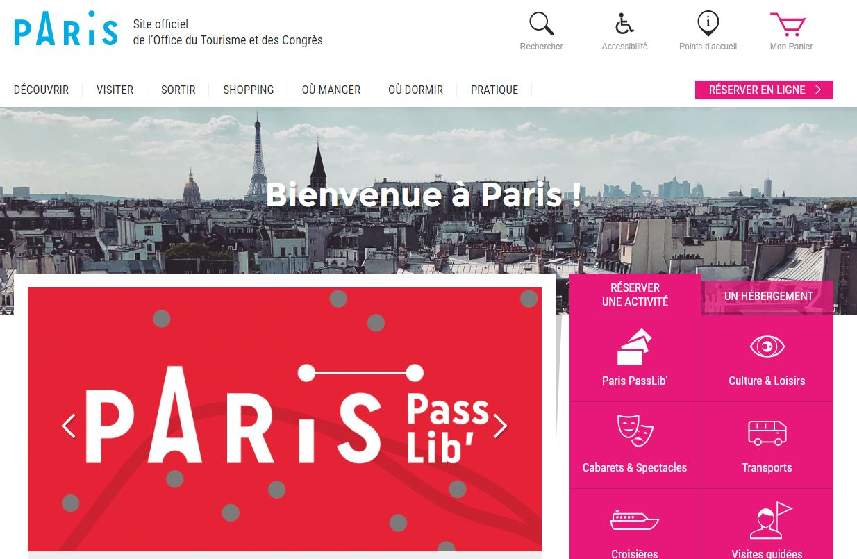 Paris Tourist Office Website