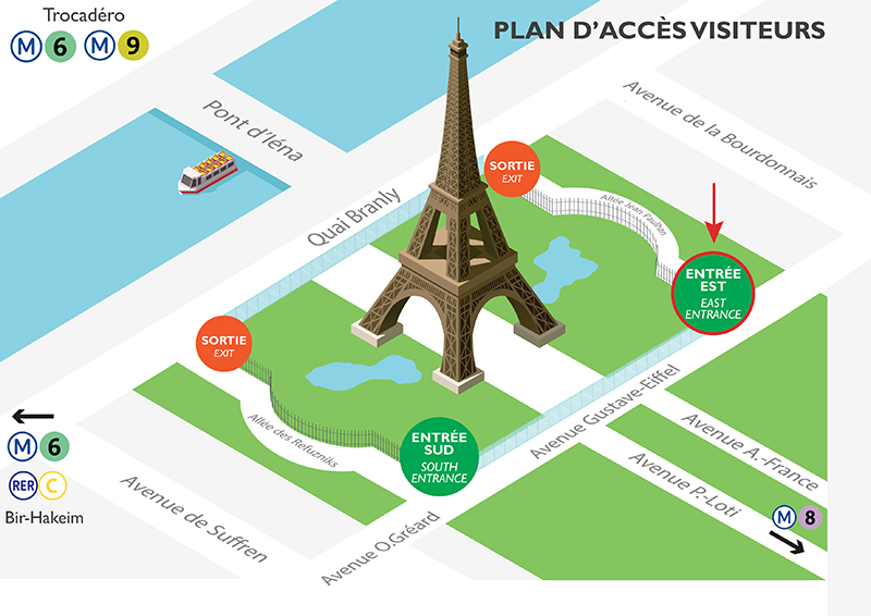 Access map of the Eiffel Tower