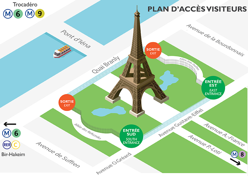 Access map to the Eiffel Tower