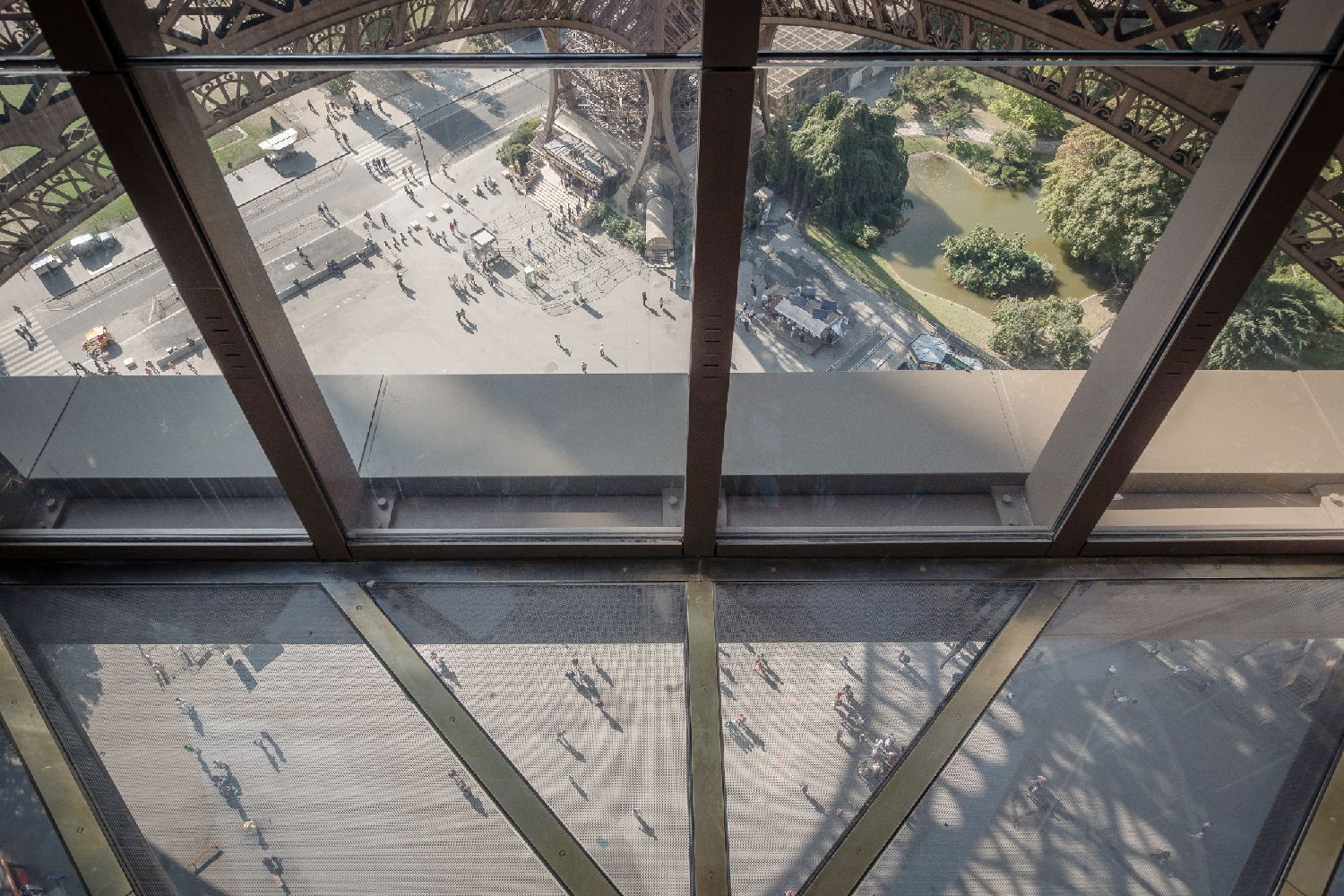 Glass Floor on the first floor of the Eiffel Tower