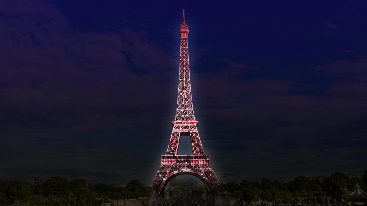 The lit up Eiffel Tower in Paris, France.