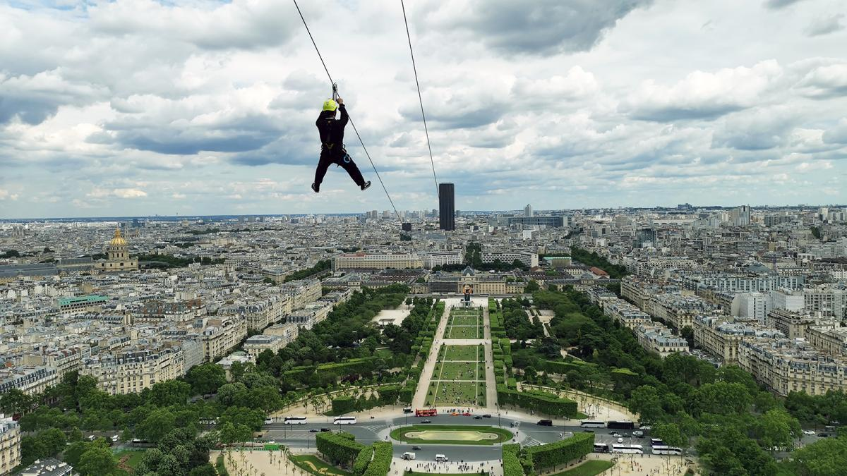 Zip line at the Eiffel Tower