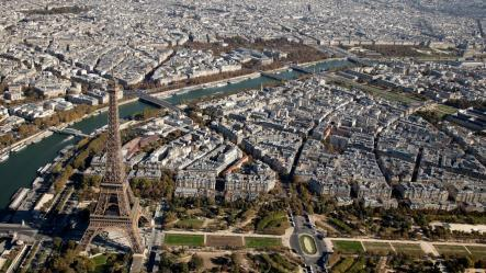 Aerial view Eiffel Tower