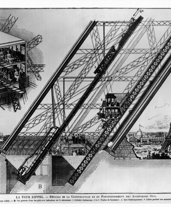 Details construction & operation Otis elevators - B & W engraving Paris Exhibition 1889