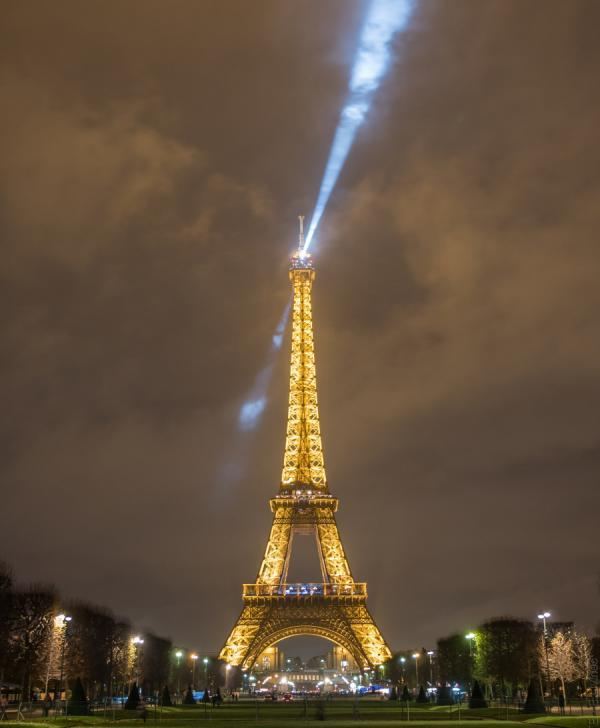 Illuminated Eiffel Tower from the Champ-de-Mars